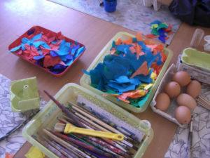 Ausgeblasene Eier Marmorieren