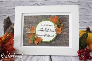 Herbstdekoration  – Herbstbild im Rahmen