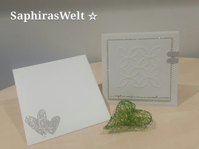 Hochzeitskarte weiß in weiß  mit einem Hauch Glitzer