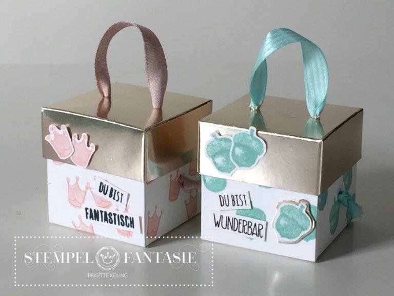 Kleine Boxen mit champagnerfarbenem Deckel