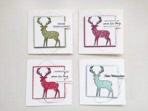 Bunte Karten-Vielfalt mit weihnachtlichem Hirsch
