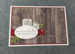 Weihnachtskarte mit Holzdekor