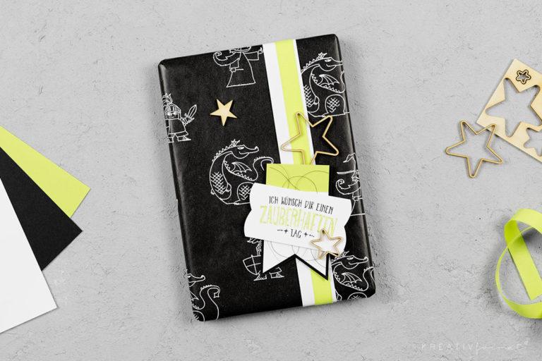 Geschenkpapier Zauberhafter Tag – kreativ verpackt