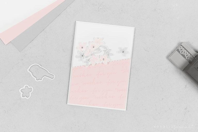 Geburtstagskarte Blütentraum & Happy Wishes