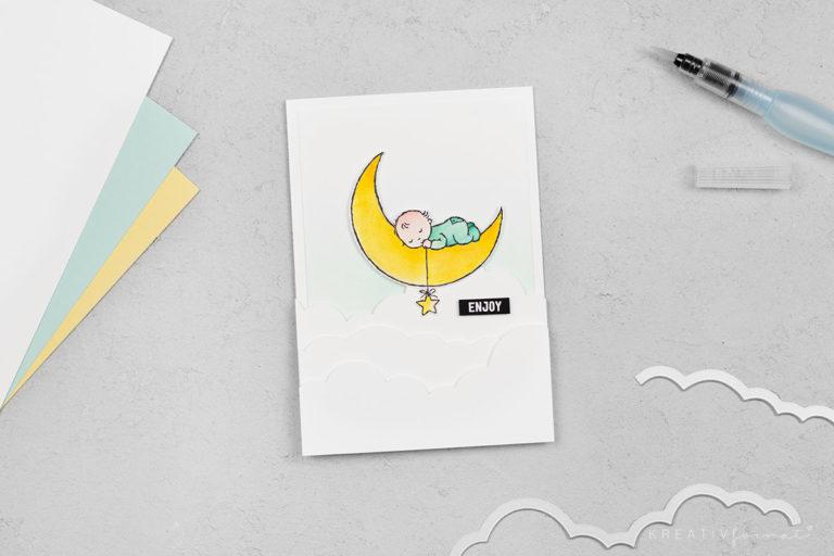 Grußkarte Träume & Mond – Stempelset Moon Baby