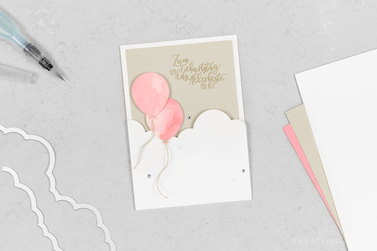 Klappkarte mit Wolken & Luftballons