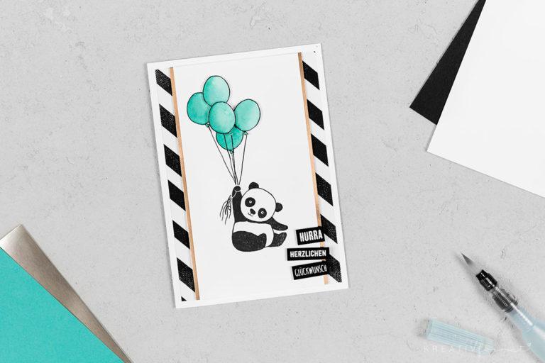 Geburtstagskarte Panda mit Luftballons