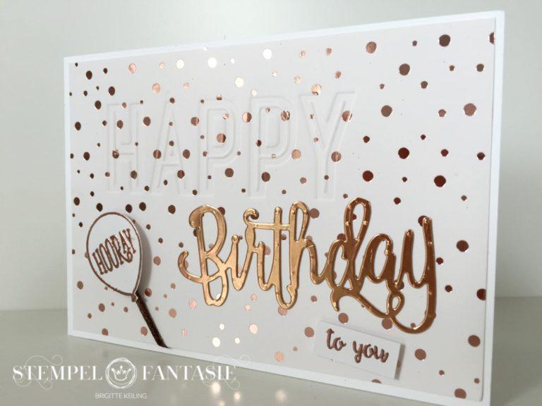 Geburtstagskarte Frühlingsglanz in Weiß-Kupfer