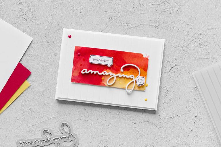 Karte zum Geburtstag mit Prägeform & Brusho