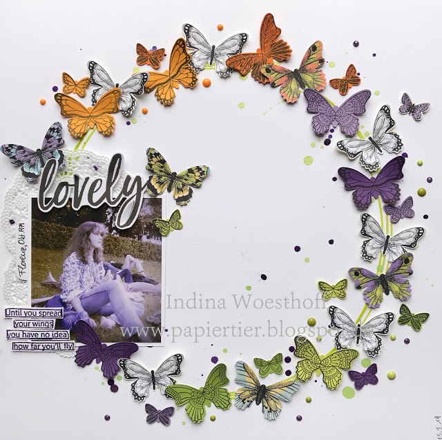 Scrapbooking Layout mit Schmetterlingen