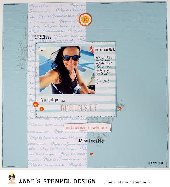 Scrapbookinglayout und ein anderes Papierprojekt mit verschiedenen Monatsstempel-Sets