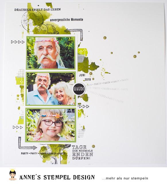 Scrapbookinglayout mit Hintergrundstempel anstatt Designpapier