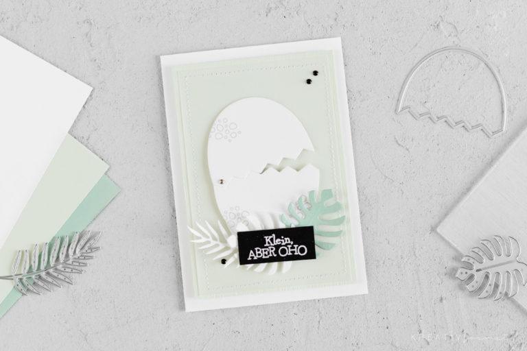 Einladungskarte zur Babyparty – Dinos & Palmen