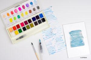 Mit Wasserfarben stempeln und Motivpapier gestalten