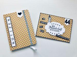 Geburtstagskarte mit passendem Notizbuch in senfgelb