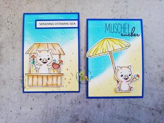 zwei neue ATCs mit den total niedlichen Schweinchen von Isabel Cristina Stamps