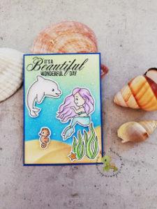 neue ATC mit Meerjungfrau von Isabel Cristina Stamps