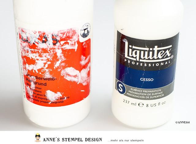 Es gibt unterschiedliche Hersteller von Gesso – Hier 2 Hersteller im Vergleich im Einsatz mit Schablonen