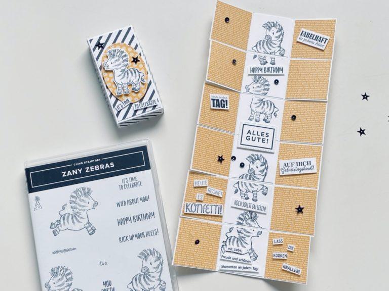 Eine etwas andere Explosions-Box – mit zuckersüßen Zebras und Kurzanleitung