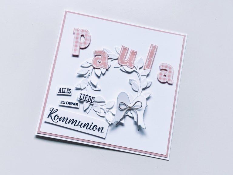 Zarte Kranzkarte zur Kommunion