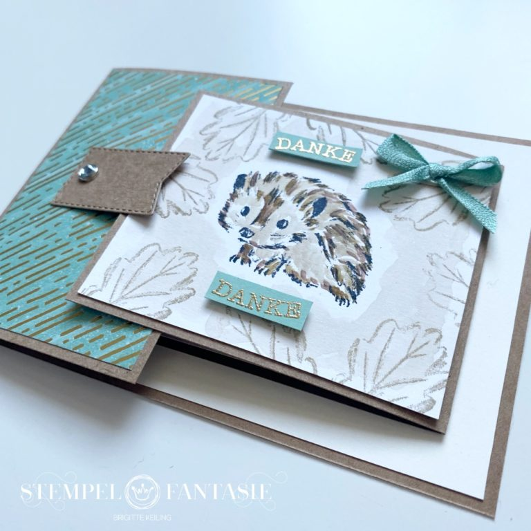 Herbstliche Joy-Fold-Card mit zuckersüßem Igel
