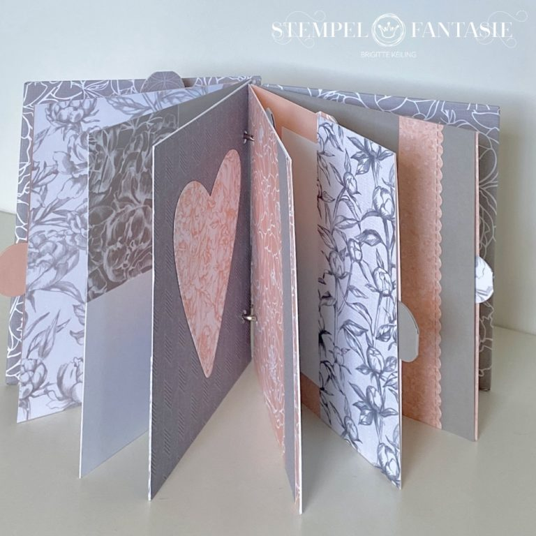 Mini-Album mit Ringbindung im Pfingstrosen-Design – mit Video-Tutorial