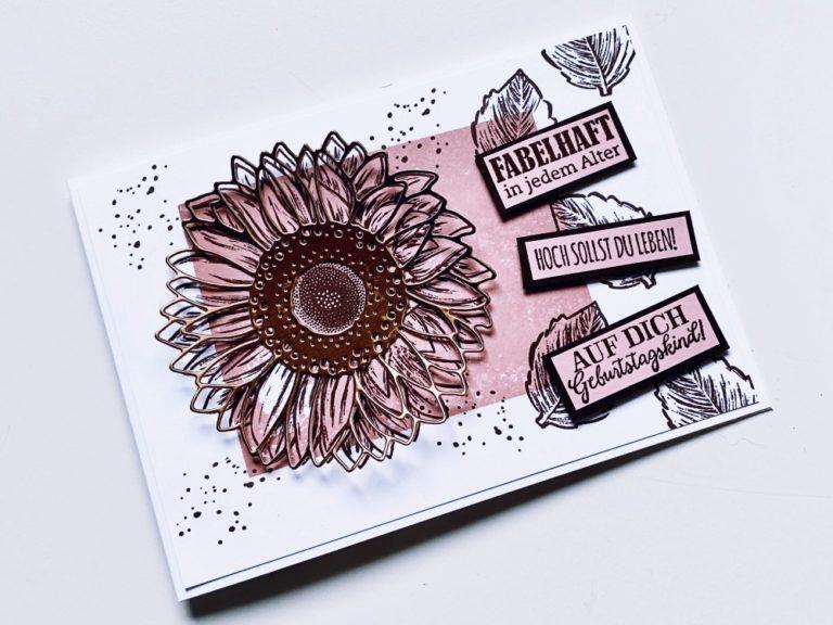 Geburtstagskarte im Metallic-Look