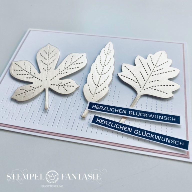Goldene, bestickte Blätter – Karte zum Geburtstag