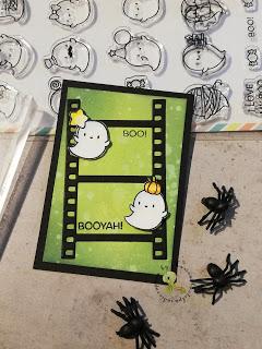 Halloween ATC – Geister mit grünem Hintergrund